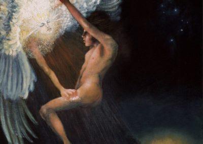 """Jacob Wrestling the Angel – Oil on Linen - 18""""×24"""""""