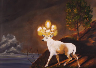 The White Stag Watches Over the City – Oil on Canvas – 40″x40″